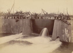Ceremony of admitting water to Victoria Dock by Lady Reay [Victoria Dock construction, Bombay].